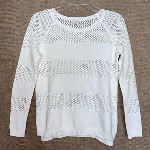 Gap White Crochet / Mesh Stripe Summer Sweater XS